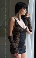 """Пеньюар """"Evie"""" черный+перчатки+стринги S/M M/L"""