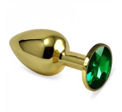 Мини анальная пробка с зеленым камнем 7см