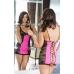 Комбинация Evie чёрно-розовая+стринги+перчатки M\L
